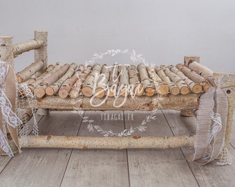 Wooden bed newborn photography props