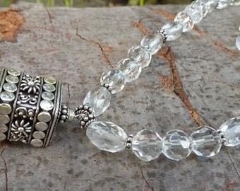 Clear Quartz (Rock Crystal), .925 Sterling Silver, Pendant