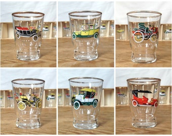 Set of 6 Vintage Shot Glasses With Classic Car Design In Original Box