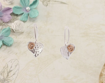 Silver Heart  Earring with Gold Fill Spirals