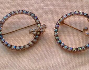 Gorgeous pair of Aurora Borealis Rhinestone Pins