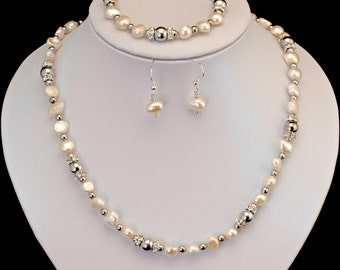 magnetic hematite white pearl necklace with magnetic clasp