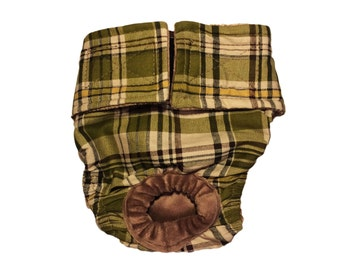 Green Plaid Washable Bunny Diaper Rabbit Diaper