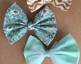 Mint-to-be Bows Alligator Clips