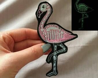 Glow in the dark flamingo patch
