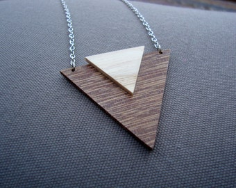 Wood - exotic triangle necklace