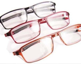 Rectangle TR90 Frame reading glasses eyeglass Reader with case FAST SHIP CA