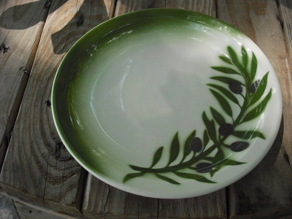 Wallace China Country Kitchen Vintage Kitchen China Plate Grandmas Kitchen Porcelain dish Green plate Restaurantware