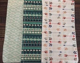 3 pack of aztec handmade burp cloths