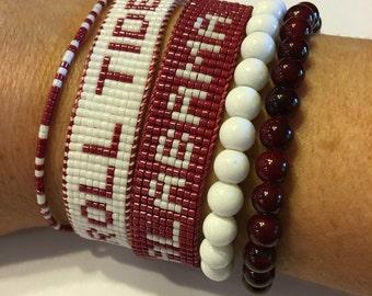 Alabama bracelet, Roll Tide bracelet, crimson tide bracelet, alabama jewelry, SEC bracelet, College Jewelry