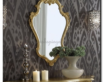 New! Venetian mirror Baroque with Crest. Ornate wall mirror Gratia gold