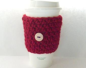 Crochet Coffee Cozy, coffee cozy, coffee sleeve, Reusable coffee sleeve,  Mug Cozy, starbucks coffee sleeve, red sleeve