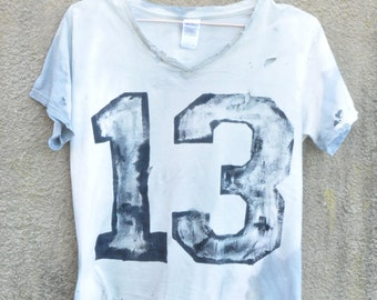Amy Glenn Style Small Women Urban Sport Jersey Distressed Tie Dye Grunge T-Shirt