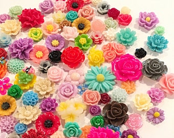assorted flower cabochons - mixed flower cabochons - 100 pieces
