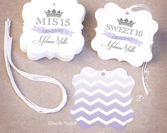 Sweet 15 Favor Tags | Personalized Quinceañera Sweet 16 Favor Tags | Chevron