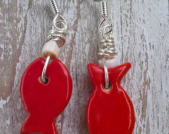 Red fish earring