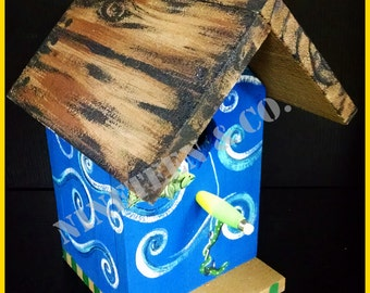 "Fishing Themed Birdhouse ""Gone Fishing"" Free Shipping!"