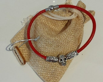 Mens Red Leather cord skull head bracelet with magnetic clasp