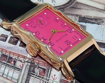 1947 vintage Bulova Brillant Rose USA Curvex 10K GF gold men's DeCo 21j Watch