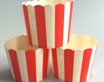 Red Stripes Baking Cups, Cupcake Cups, Treat Cups, Ice Cream Cups, Candy Cups, Favour Cups - BC007