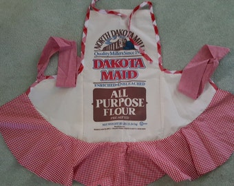 North Dakota Mill Flour Sack Apron with Gingham Trim