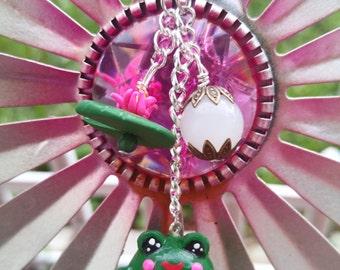 Kawaii Frog & Lily Pad Keychain