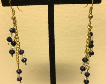 Dark blue and clear dangle cluster earrings