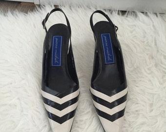 Vintage 80s Pierre Michel black and white striped leather pumps shoes size 8