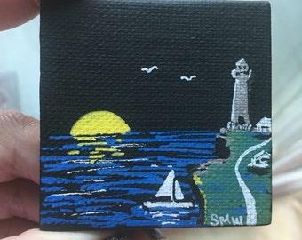 Sail by Night- minicanvas original  handmade acrylic art sailboat Molotow acrylic paint markers