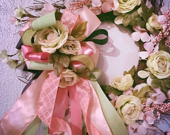 Cottage Rose and Cherry Blossom Wreath