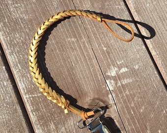 METALLIC GOLD >> faux leather braided pacifier clip, paci clip, binky clip