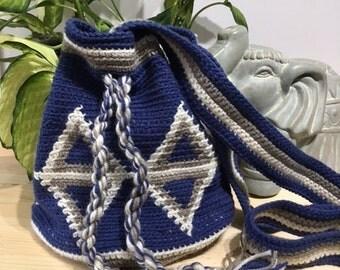 wayuu style bag bleu and beige