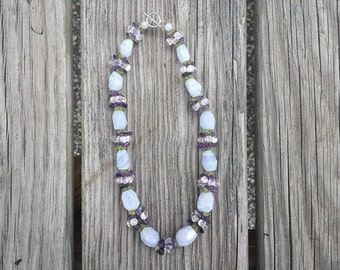 Blue Lace Agate, Amethyst, Peridot Beaded Necklace