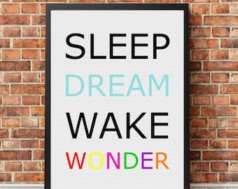 Sleep Dream Wake Wonder, Digital print, Nursery wall art, Printable art, Gift