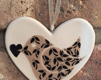 Hand painted Ceramic Heart - Floral Birdie with heart - black
