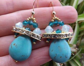 Turquoise drop earrings with Swarovski crystals