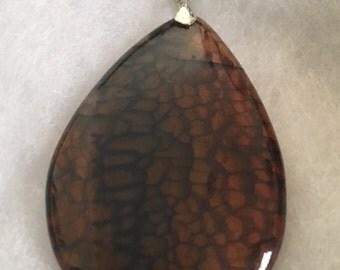 Brown and black dragon agate pendant
