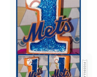 "Mets 3"" Custom Birthday Candle; Any Sports theme"
