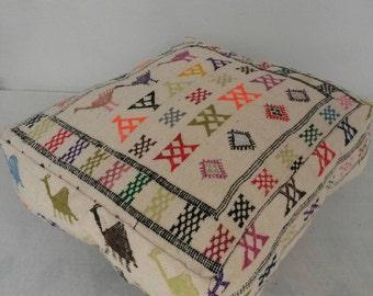 Moroccan pouf, Moroccan ottoman, Rug pouf, Vintage rug pouf, Moroccan foot stool, Vintage foot stool, Floor pillow, Vintage pouf, Boho pouf
