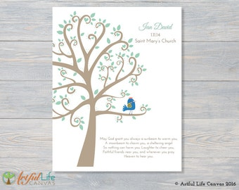 BAPTISM GIFT for BOY, Personalized Baptism Canvas Wall Art, Canvas Nursery Art, Baptism Tree Canvas Print