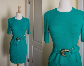 1980s Petite Sophisticate Turquoise Peplum Belted Dress