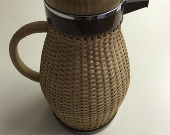 Vintage Corning Design Wicker Thermo Carafe Pitcher