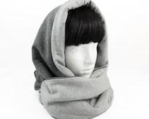 Hooded scarf/reversible scarf/circle scarf/cowl neck hoodie/Scarf with hood/gray scarf loop/infinity scarfs/hooded cowl/hooded wrap