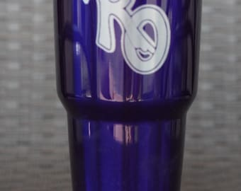 Personalized powder coated and engraved tumblers