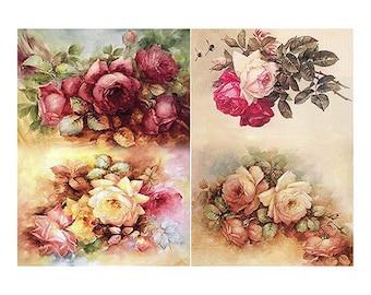 flowers, vintage roses, Decoupage paper,