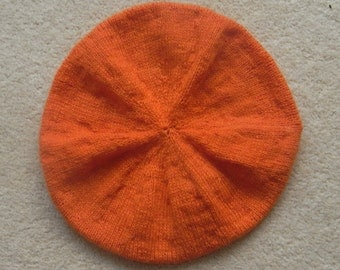 Great Pure Cashmere Handknitted Orange Beret Child