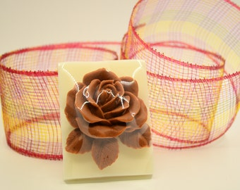 White and Brown Rose soap