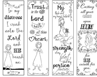 Bible Verse Bookmarks on Deliverance & Encouragement B/W Color Your Own Print and Cut