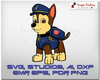 Chease Paw Patrol, cuttable Cricut Design Space, Silhouette, Digital Cut Files, Instant Download, svg dxf studio3 png pdf