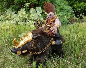 """9""""x 8' Dwarf hog rider,11""""x7"""" boar, semi poseable."""